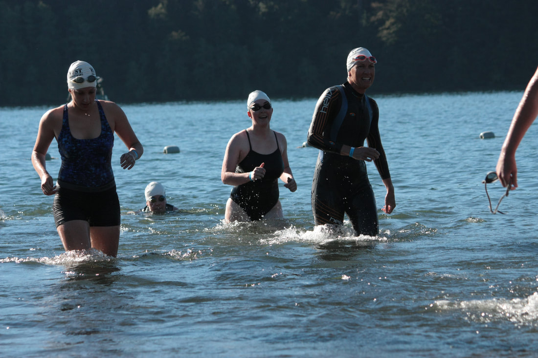 Swimmer at Best in the West Triathlon Festival at Foster Lake